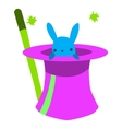 Cartoon rabbit in hat flat mascot icon