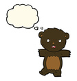 cartoon shocked black bear cub with speech bubble vector image vector image
