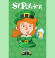 cartoon st patrick day template vector image vector image