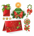 christmas cards candle and sweets vector image