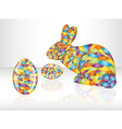 Colorful easter eggs and rabbit vector image vector image