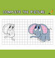 complete the picture of a cute baby elephant copy vector image