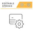 credit card setting editable stroke line icon vector image vector image