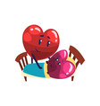 cute red and pink hearts characters lying in the vector image vector image
