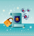 cyber security with parchment vector image vector image