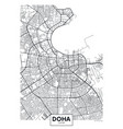 detailed poster city map doha vector image