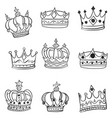 doodle of crown various hand draw vector image vector image