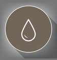 drop of water sign white icon on brown vector image