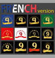 french set of number 9 templates vector image
