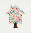hand tree house concept for community home vector image