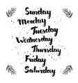 hand written weekdays vector image
