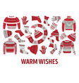 knitwear winter knitted clothes and accessories vector image vector image