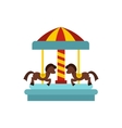 Merry go round horse ride icon flat style vector image