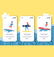 mobile onboard screens with surfers and surfing vector image vector image