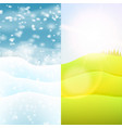 nature seasonal landscape hills with grass and vector image