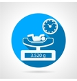 Newborn weighing blue icon vector image