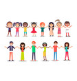 people in cartoon style hholding hands show unity vector image