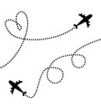 plane icon set two airplane flying dash line vector image vector image