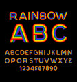 rainbow font lgbt letters abc for symbol of gays vector image vector image