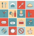 Restaurant icons set flat line vector image