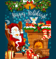 santa christmas fireplace with gift greeting card vector image