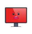 screaming face on computer screen emoticon vector image vector image