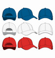 set of baseball caps front back and side view vector image vector image