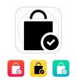 Shopping bag check icon vector image