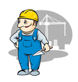 Smiling builder in cartoon style vector image