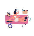 sunbathing couple woman and man on vacation vector image vector image