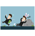 turtle businessman is running and rabbit sleeps vector image vector image