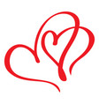 two red lovers heart handmade calligraphy vector image vector image