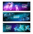 underwater colorful horizontal banners set vector image vector image