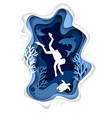 underwater scuba diving paper cut vector image