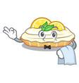 waiter cartoon piece of yummy lemon meringue pie vector image