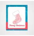 Sock with abstract doodle pattern Christmas vector image