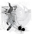 jumping ring-tailed lemur with a skateboard vector image