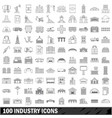 100 industry icons set outline style vector image vector image