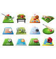 3d playgrounds with equipment for different kinds vector image