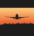 a passenger plane and a big city vector image