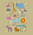 african animals cute cartoon lion and tiger vector image vector image
