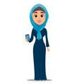 arabic woman holding smartphone cute vector image vector image
