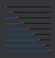 black equalizer with blue slider buttons vector image