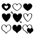 black heart silhouette icon set different shape vector image