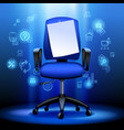 business chair with notice paper and internet vector image