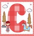 c alphabet letter for kids vector image