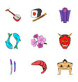 chinese culture icons set cartoon style vector image vector image