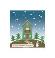 Christmas card Winter is here vector image vector image