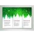 Christmas white and green leaflet design vector image