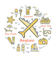 concept of summer time with airplane icon vector image
